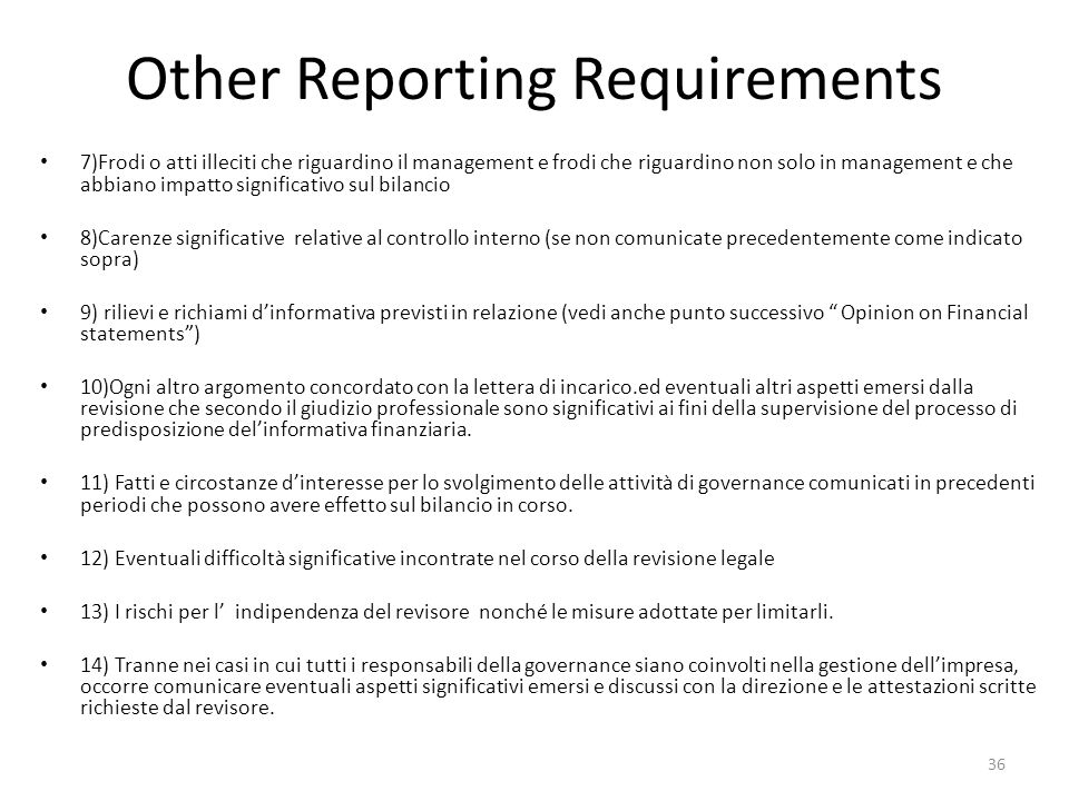 Other Reporting Requirements