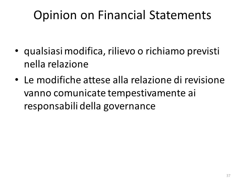 Opinion on Financial Statements