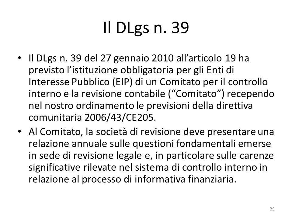 Il DLgs n. 39