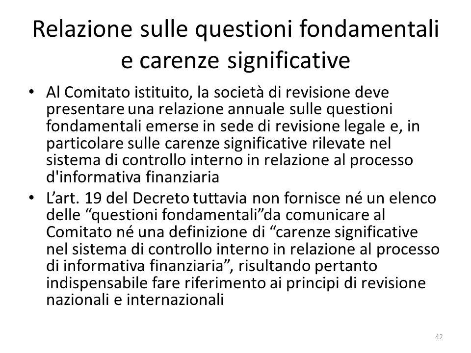 Relazione sulle questioni fondamentali e carenze significative