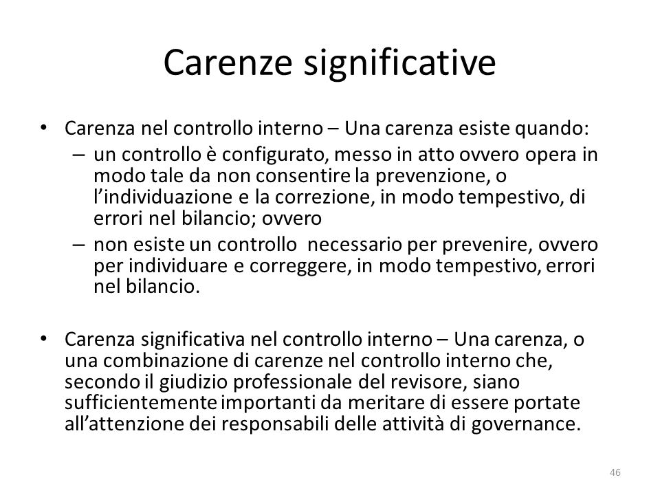 Carenze significative
