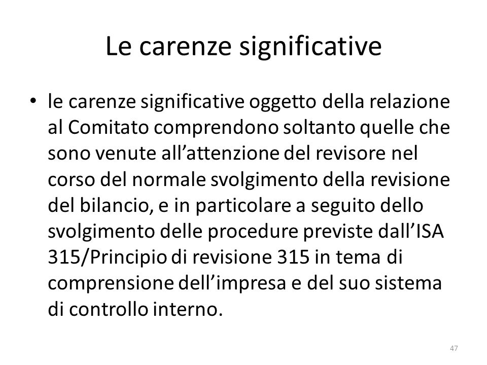 Le carenze significative