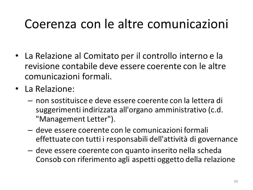 Coerenza con le altre comunicazioni