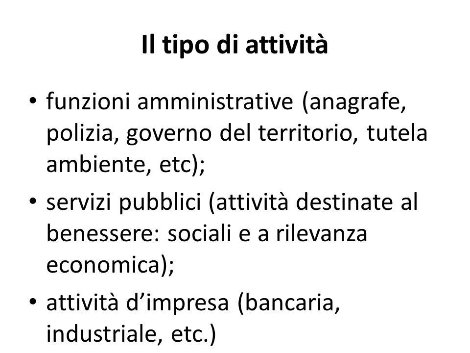 Il tipo di attivitàfunzioni amministrative (anagrafe, polizia, governo del territorio, tutela ambiente, etc);