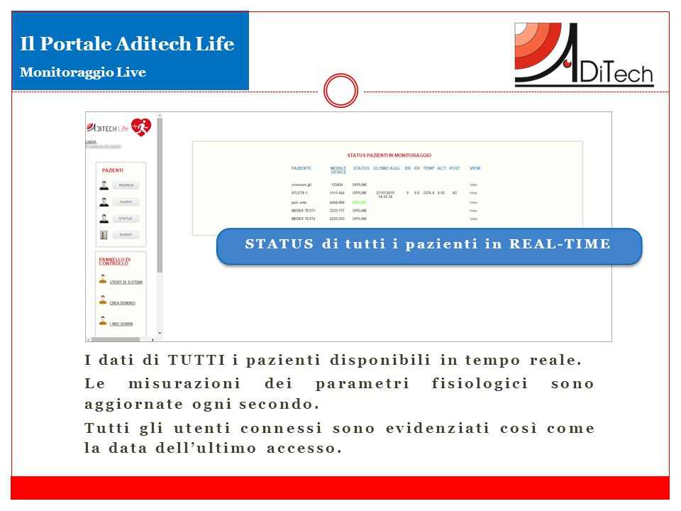 Il Portale Aditech Life Monitoraggio Live