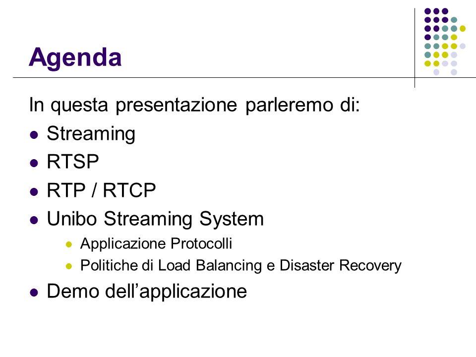 Agenda In questa presentazione parleremo di: Streaming RTSP RTP / RTCP