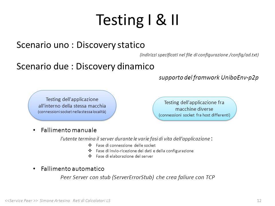 Testing I & II Scenario uno : Discovery statico