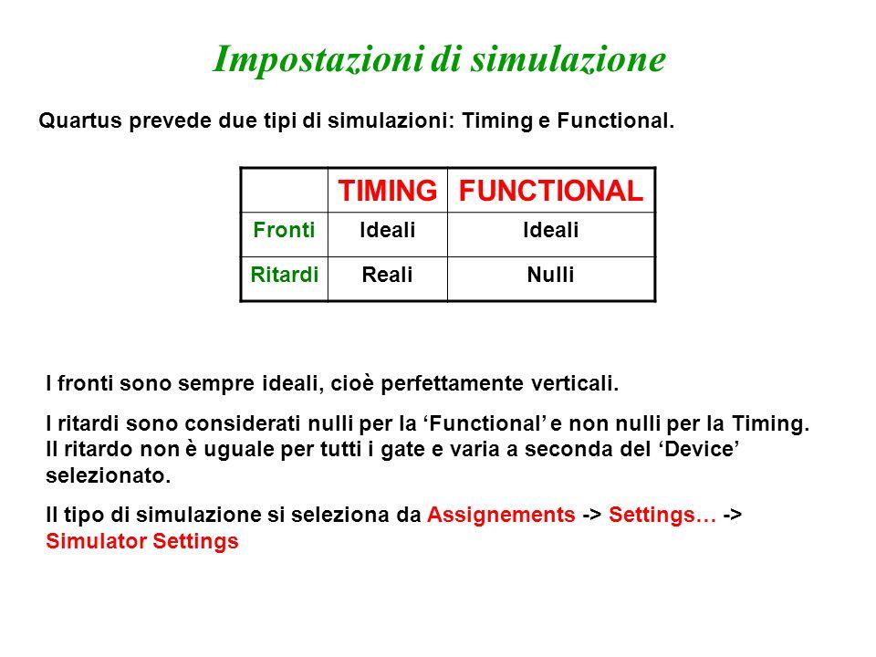 Impostazioni di simulazione