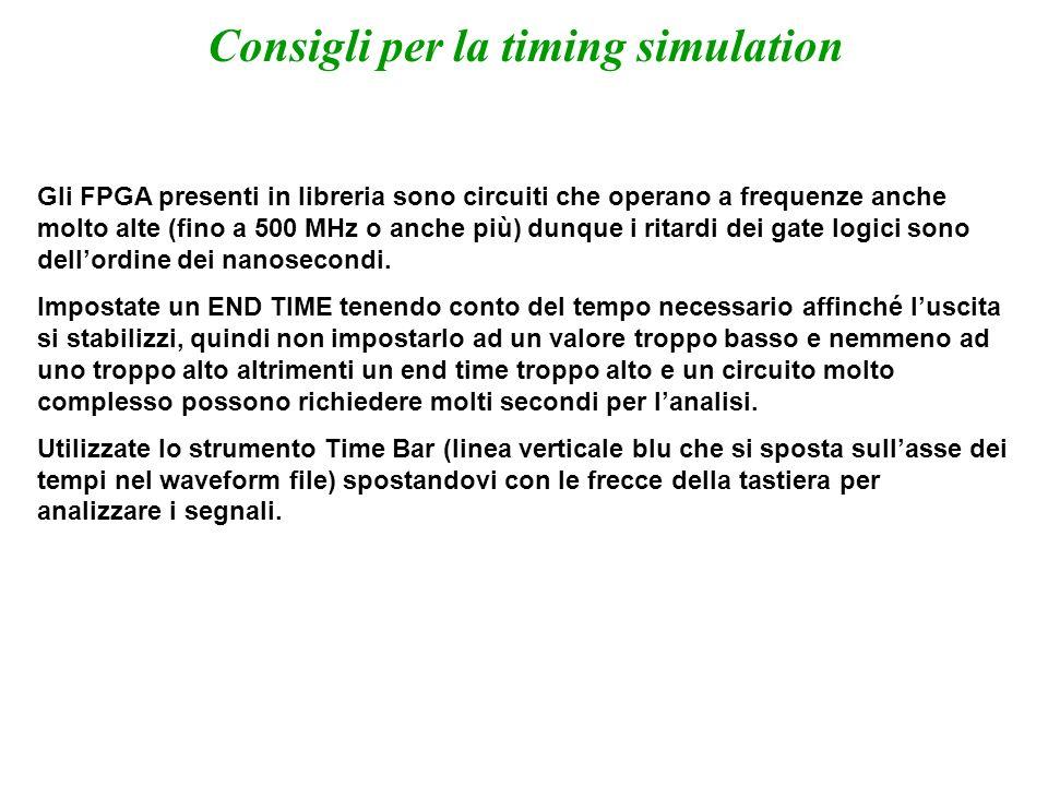 Consigli per la timing simulation
