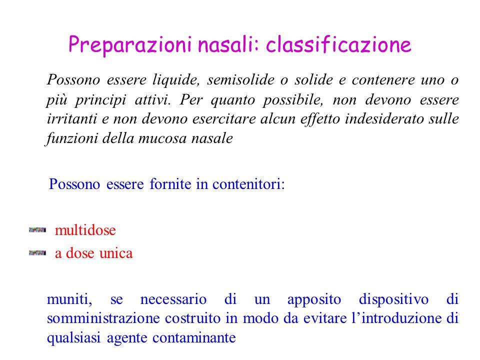 Preparazioni nasali: classificazione