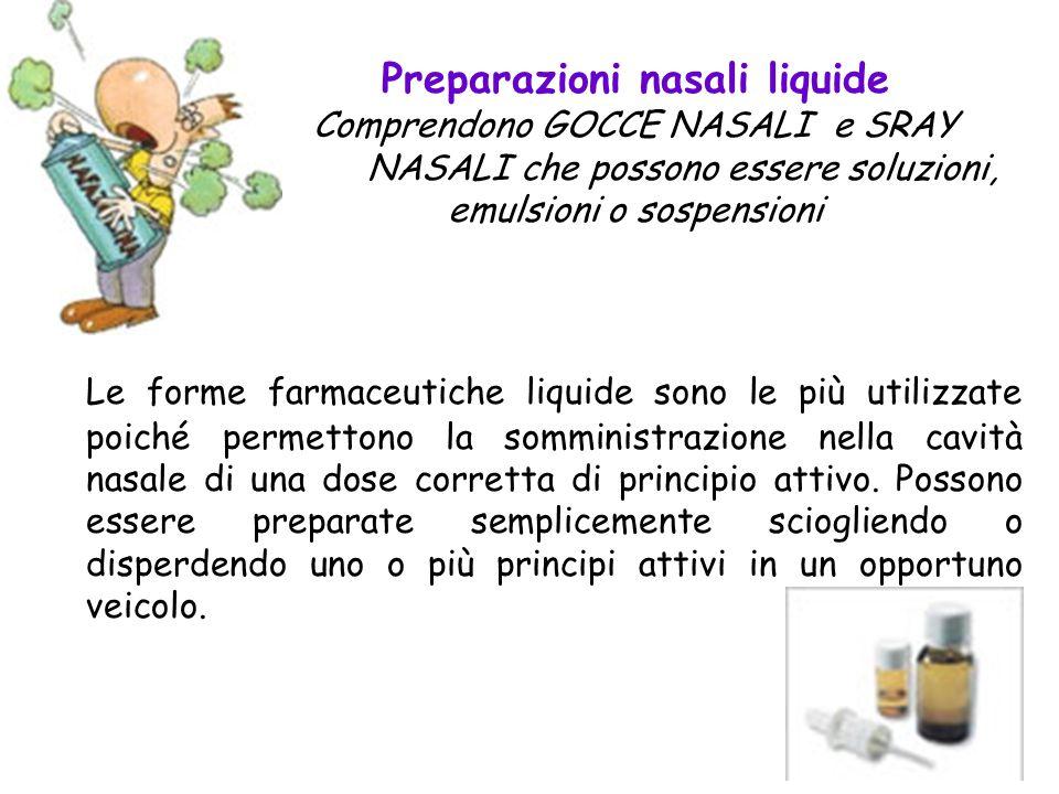 Preparazioni nasali liquide Comprendono GOCCE NASALI e SRAY NASALI che possono essere soluzioni, emulsioni o sospensioni