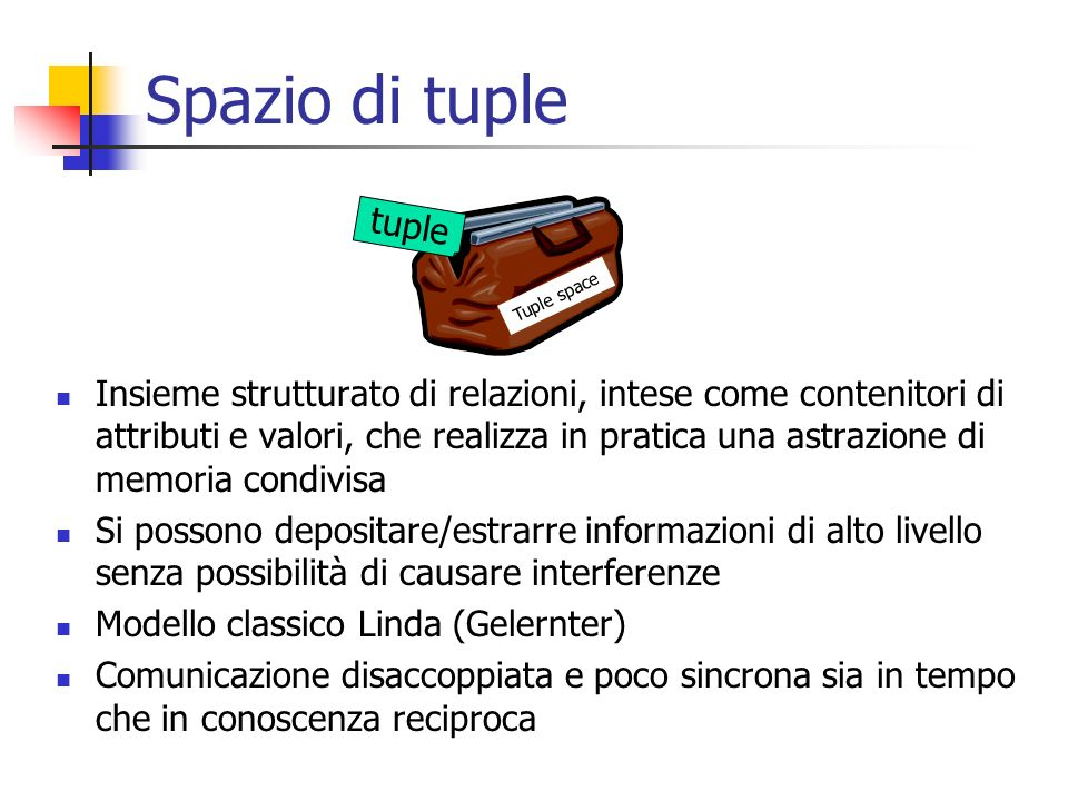 Spazio di tuple Tuple space. tuple.