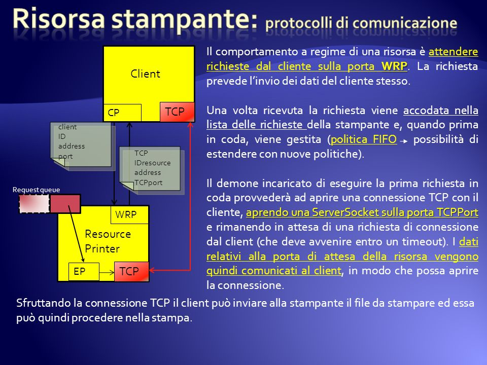 Risorsa stampante: protocolli di comunicazione