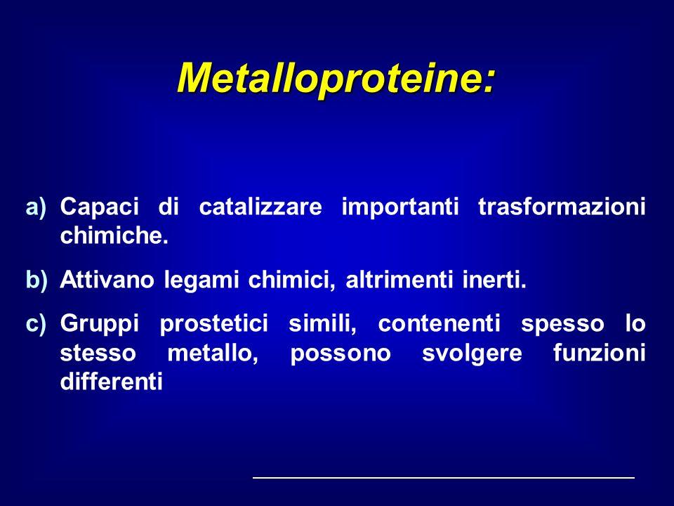 Metalloproteine: Capaci di catalizzare importanti trasformazioni chimiche. Attivano legami chimici, altrimenti inerti.