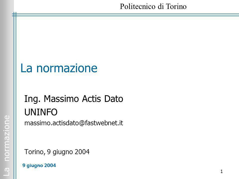 La normazione Ing. Massimo Actis Dato UNINFO