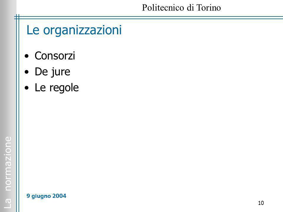Le organizzazioni Consorzi De jure Le regole 9 giugno 2004