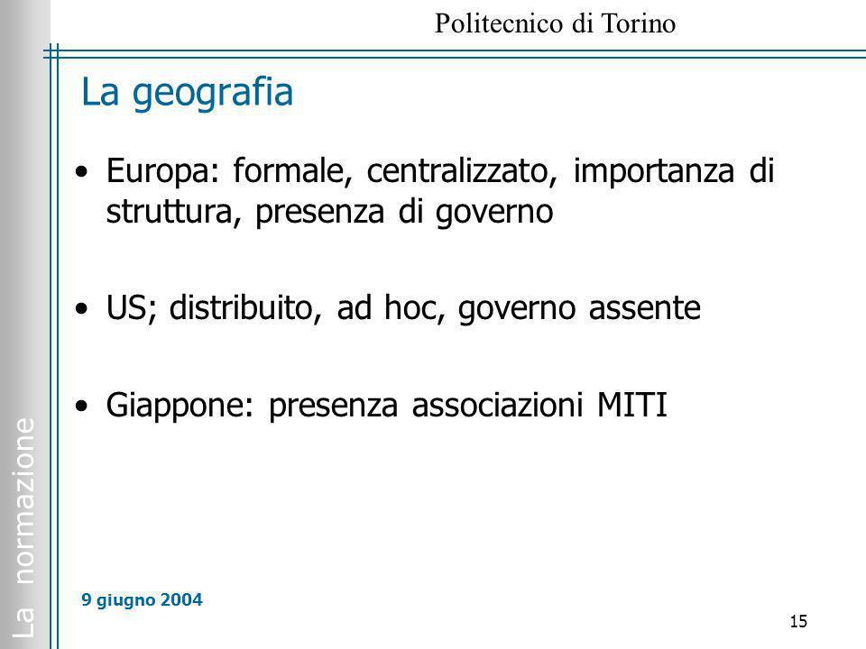 La geografia Europa: formale, centralizzato, importanza di struttura, presenza di governo. US; distribuito, ad hoc, governo assente.
