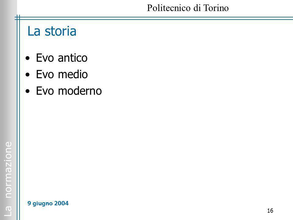 La storia Evo antico Evo medio Evo moderno 9 giugno 2004
