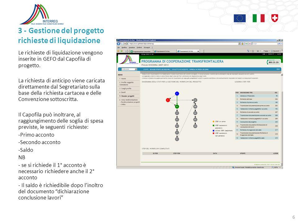 3 - Gestione del progetto richieste di liquidazione
