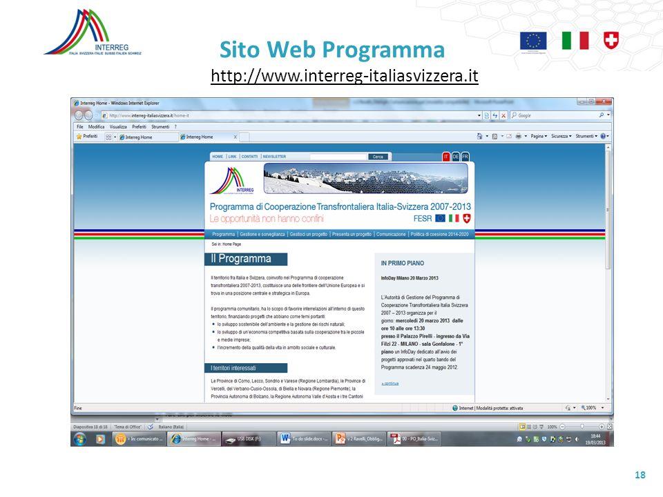 Sito Web Programma http://www.interreg-italiasvizzera.it