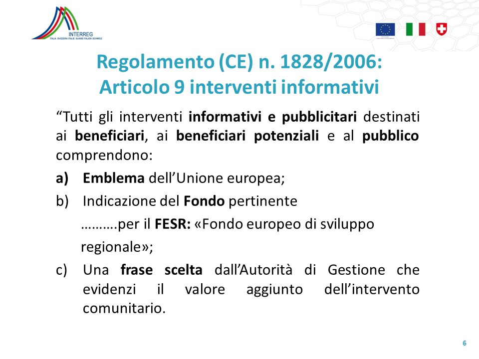 Regolamento (CE) n. 1828/2006: Articolo 9 interventi informativi