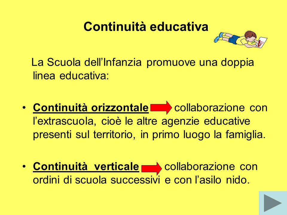 Continuità educativa La Scuola dell'Infanzia promuove una doppia linea educativa: