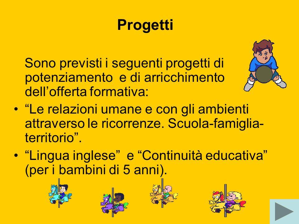 Progetti Sono previsti i seguenti progetti di potenziamento e di arricchimento dell'offerta formativa: