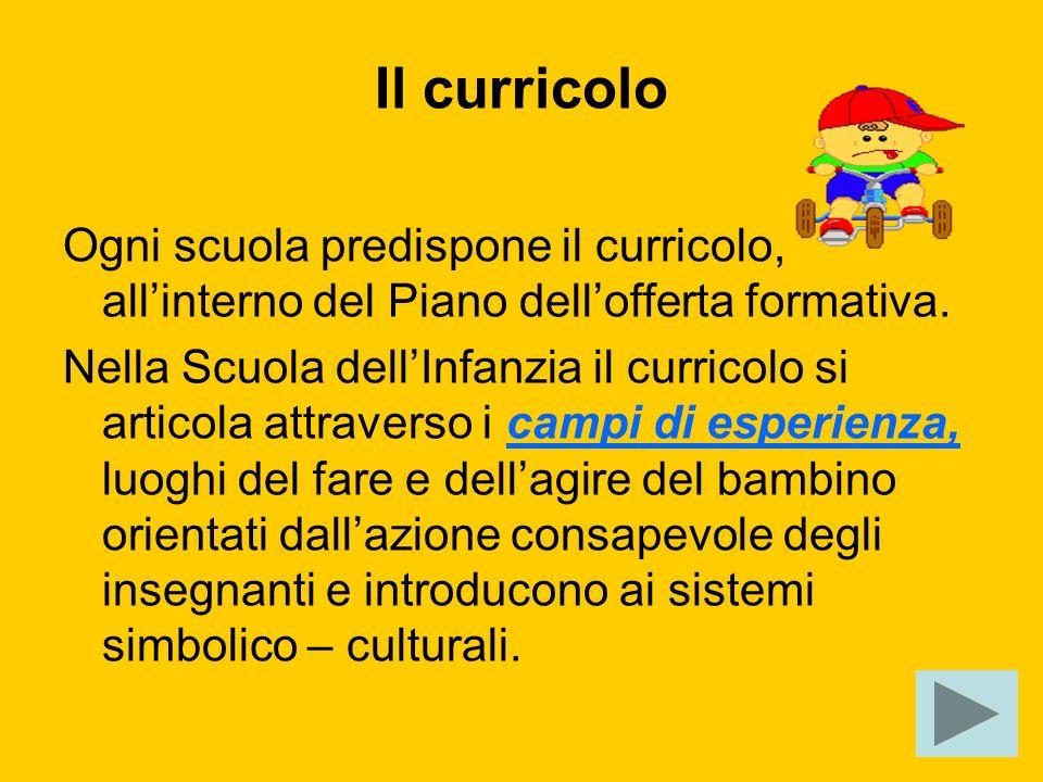 Il curricolo Ogni scuola predispone il curricolo, all'interno del Piano dell'offerta formativa.