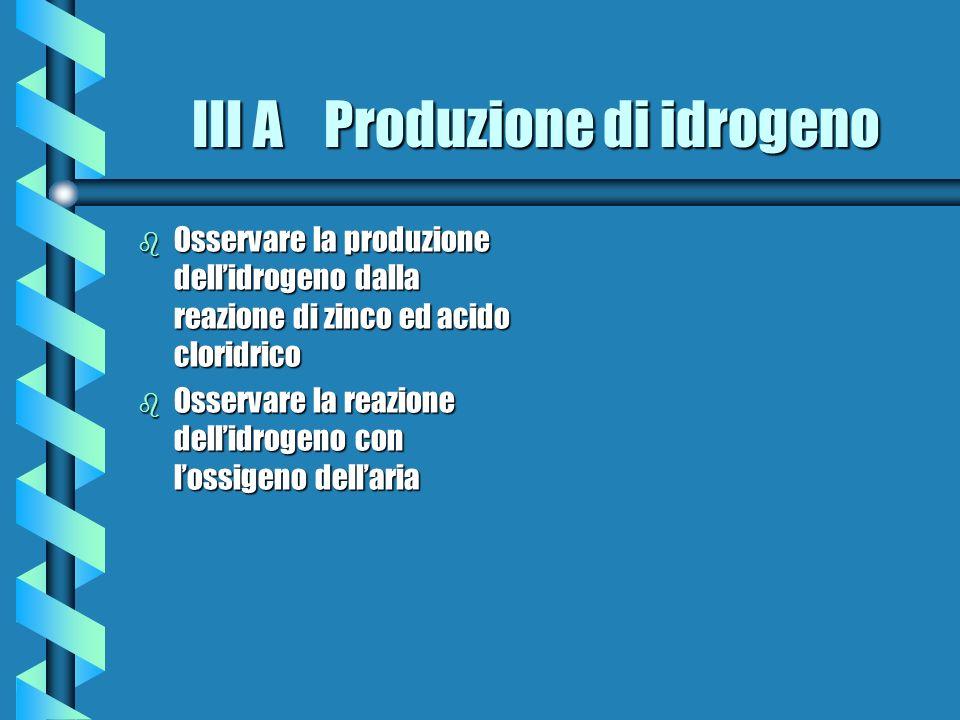 III A Produzione di idrogeno