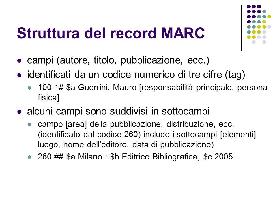 Struttura del record MARC