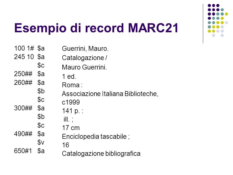 Esempio di record MARC21 100 1# $a Guerrini, Mauro. 245 10 $a