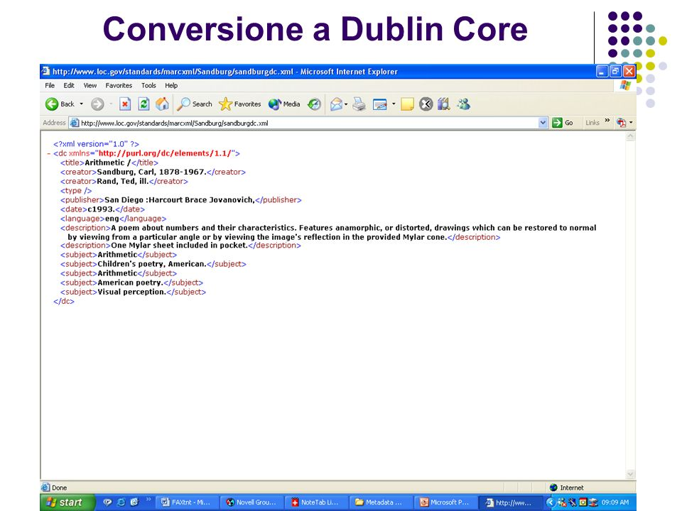 Conversione a Dublin Core