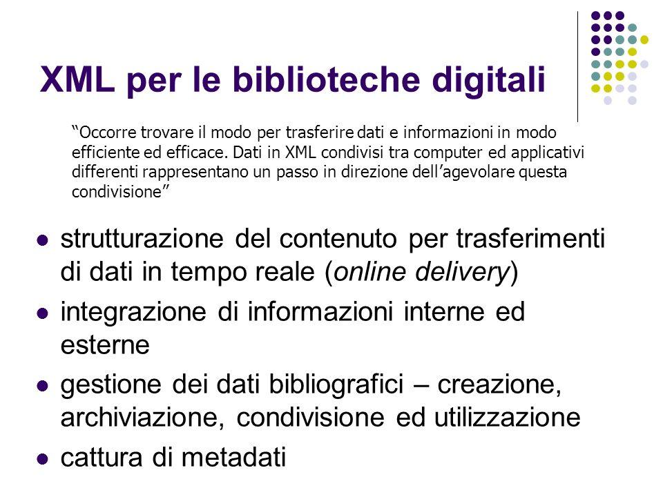 XML per le biblioteche digitali