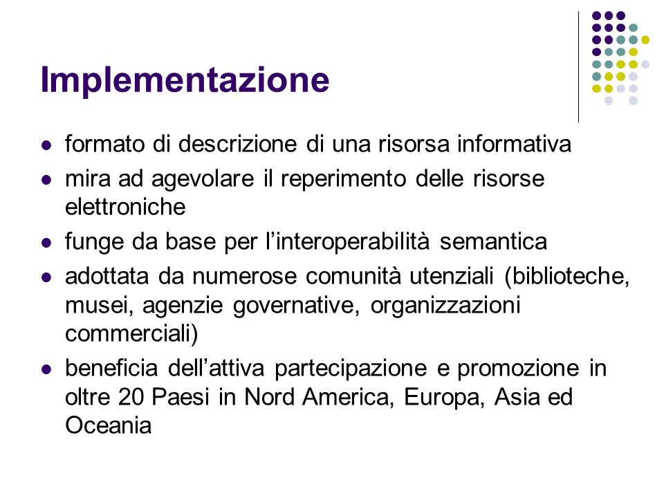 Implementazione formato di descrizione di una risorsa informativa