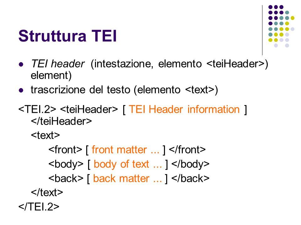 Struttura TEI TEI header (intestazione, elemento <teiHeader>) element) trascrizione del testo (elemento <text>)