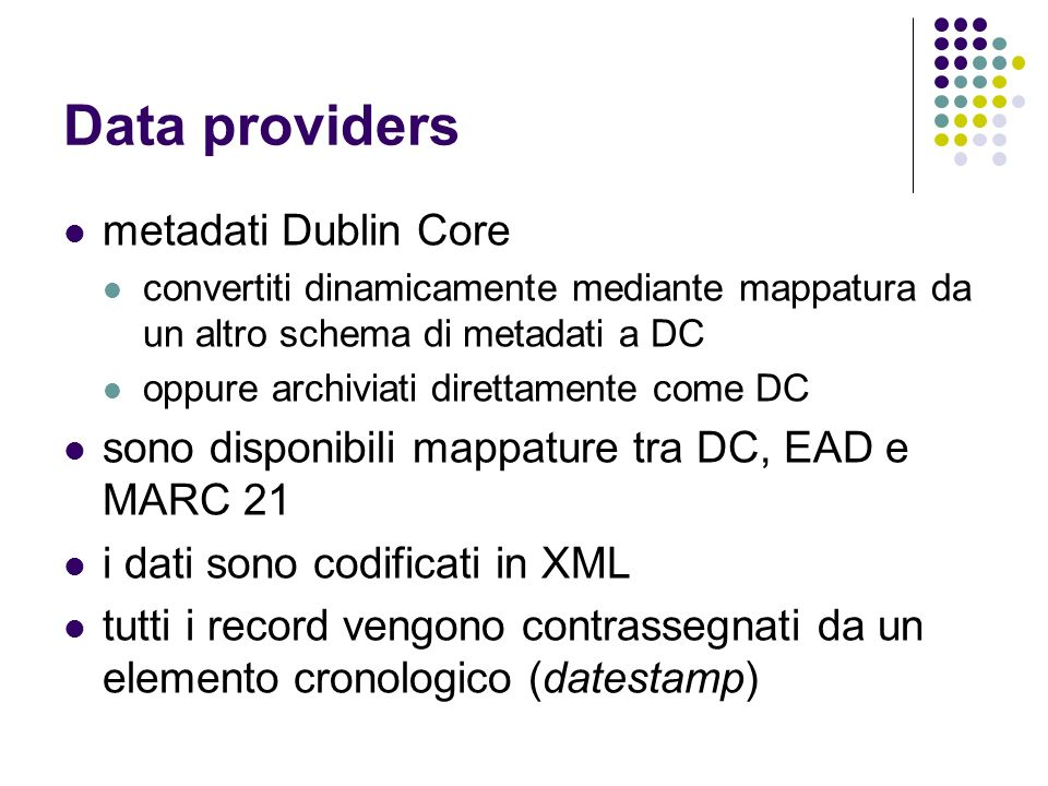 Data providers metadati Dublin Core