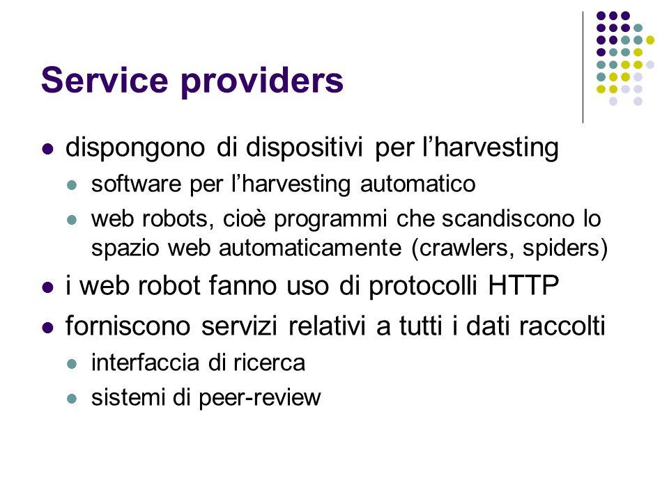 Service providers dispongono di dispositivi per l'harvesting