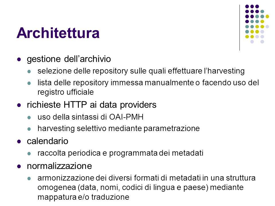 Architettura gestione dell'archivio richieste HTTP ai data providers
