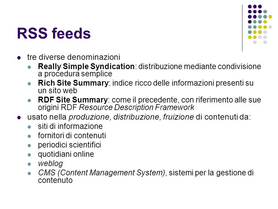 RSS feeds tre diverse denominazioni