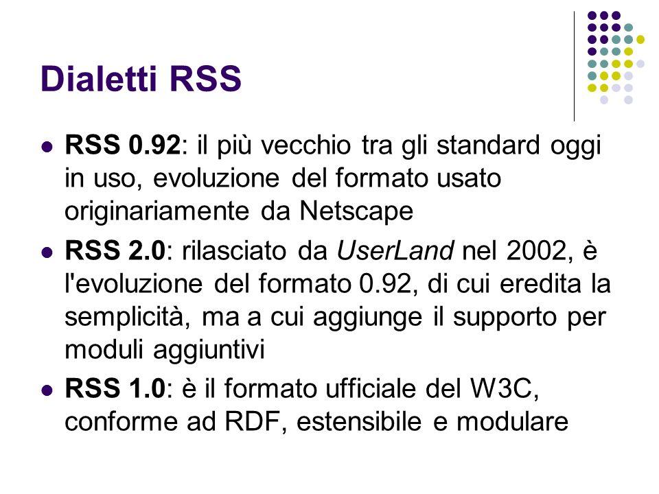 Dialetti RSSRSS 0.92: il più vecchio tra gli standard oggi in uso, evoluzione del formato usato originariamente da Netscape.