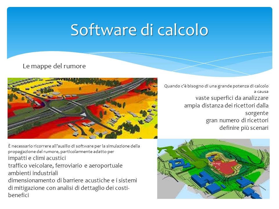 Software di calcolo Le mappe del rumore vaste superfici da analizzare