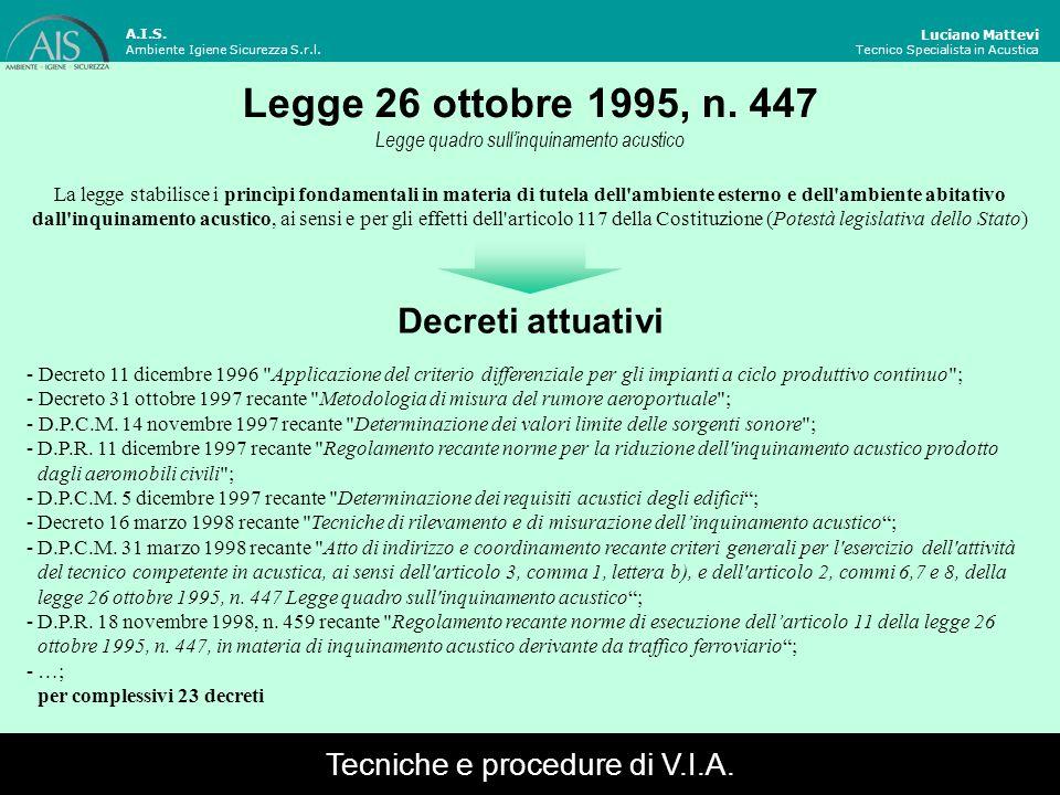 Legge 26 ottobre 1995, n. 447 Decreti attuativi