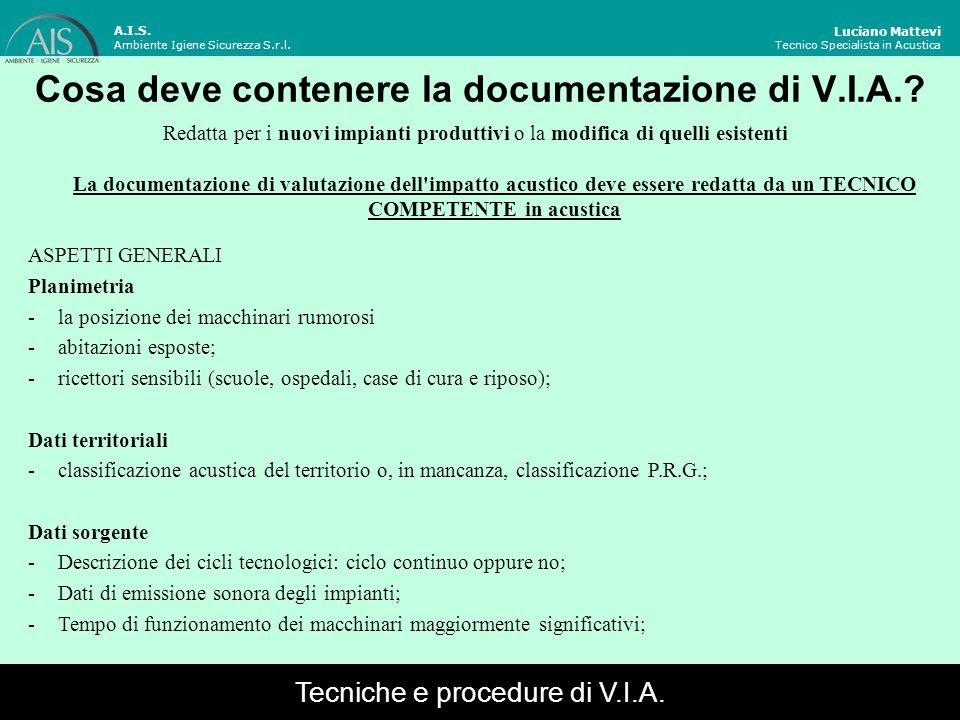 Cosa deve contenere la documentazione di V.I.A.