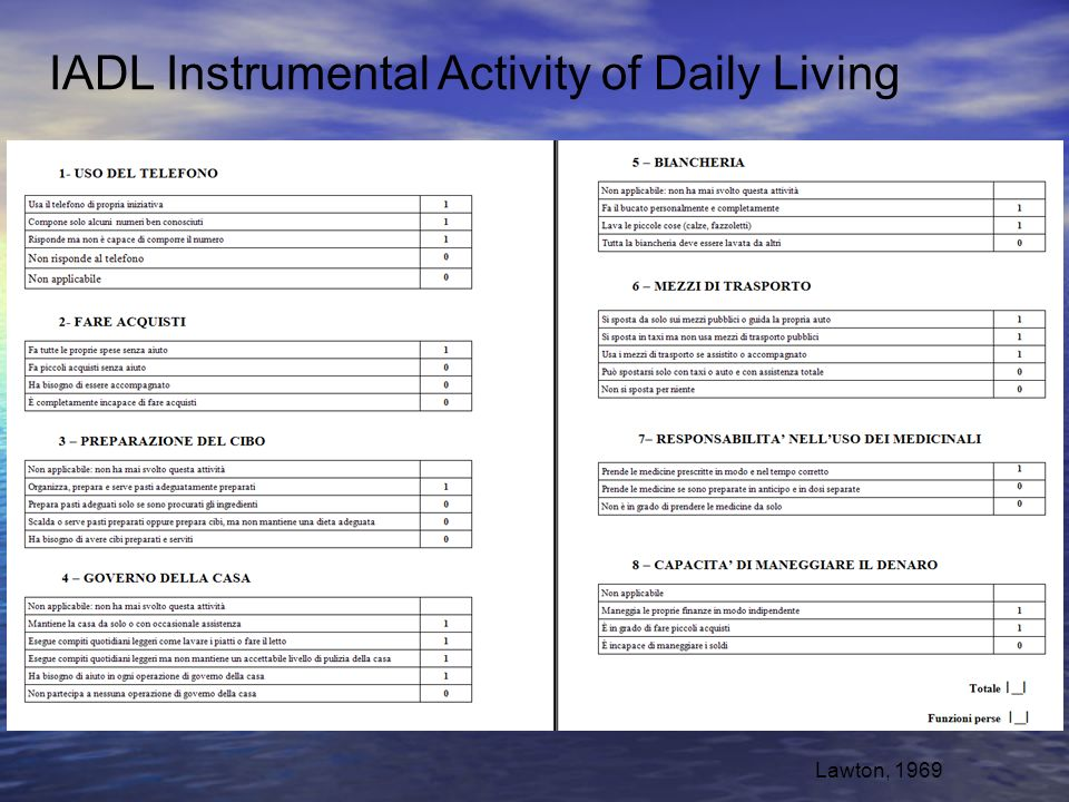 IADL Instrumental Activity of Daily Living