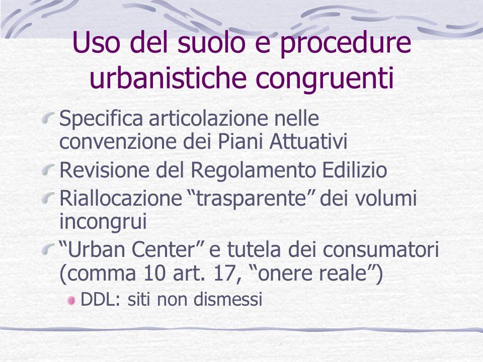 Uso del suolo e procedure urbanistiche congruenti