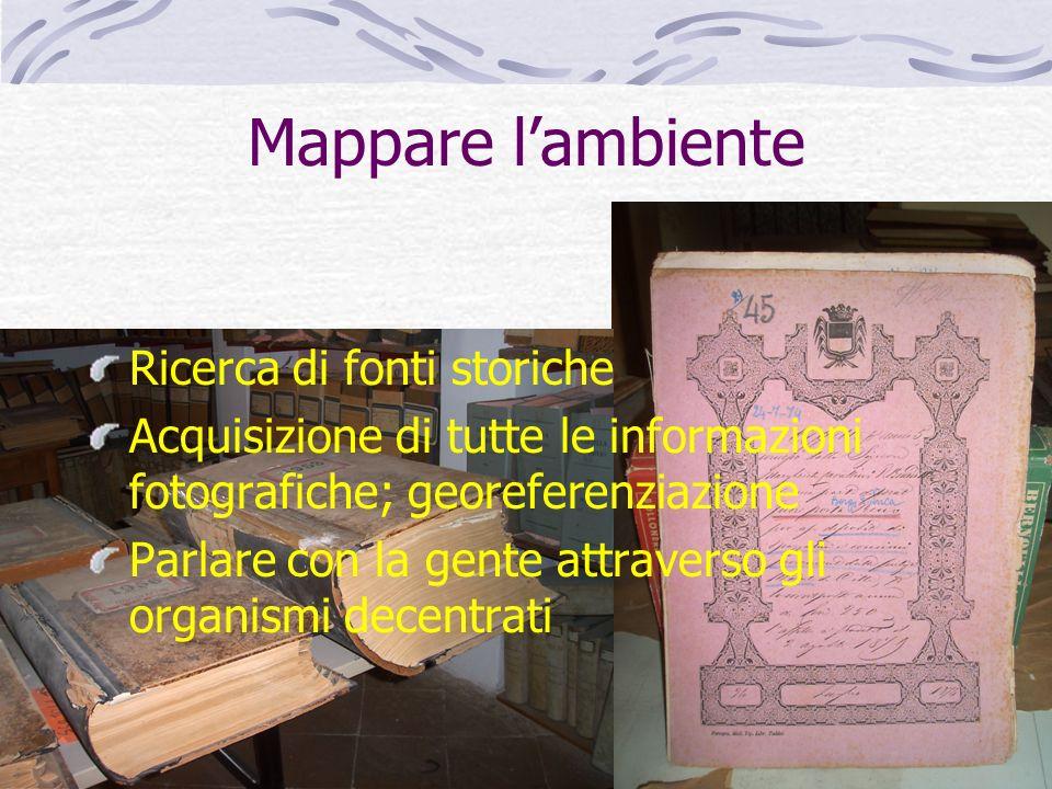 Mappare l'ambiente Ricerca di fonti storiche