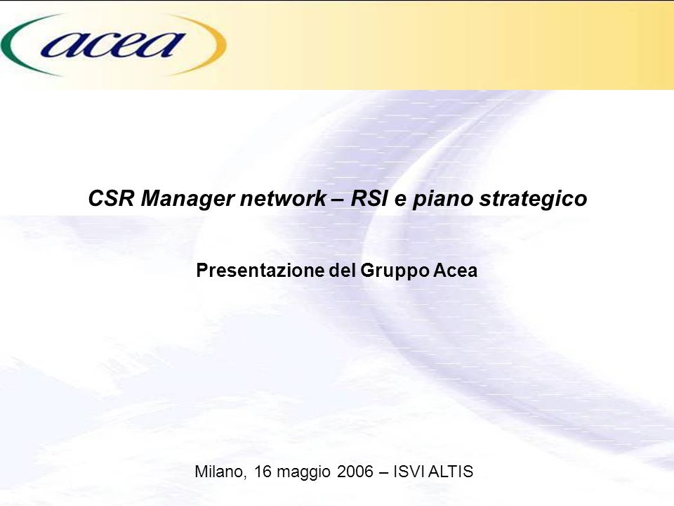 CSR Manager network – RSI e piano strategico