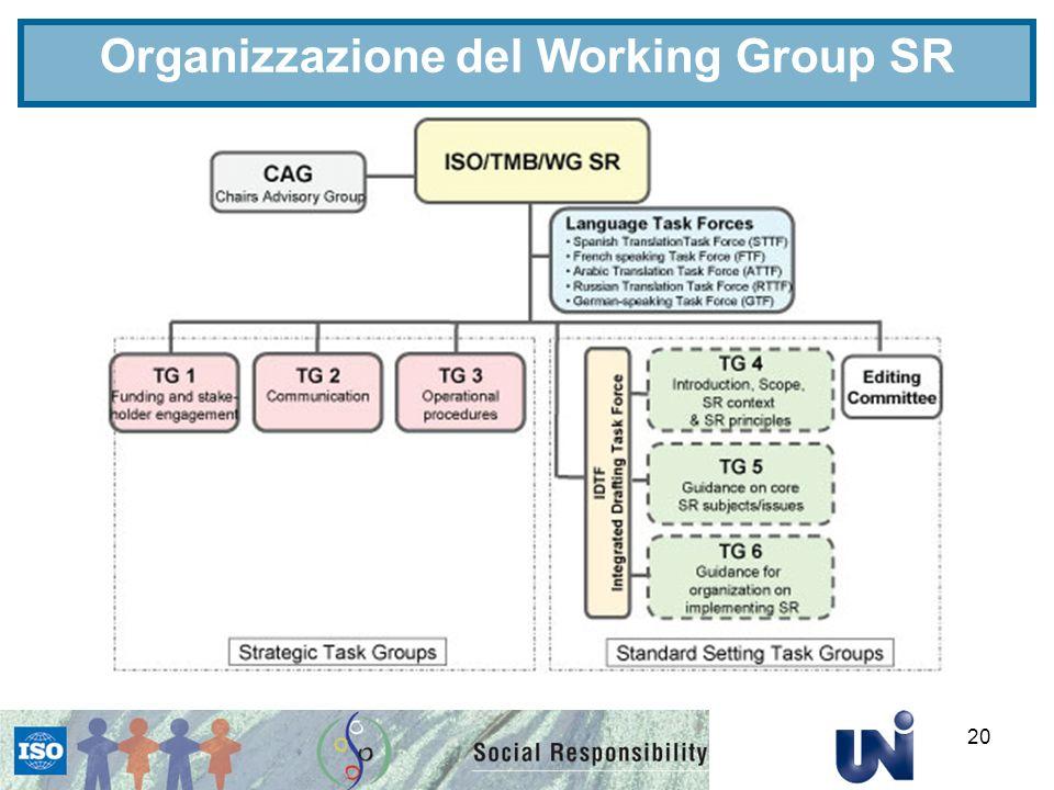 Organizzazione del Working Group SR