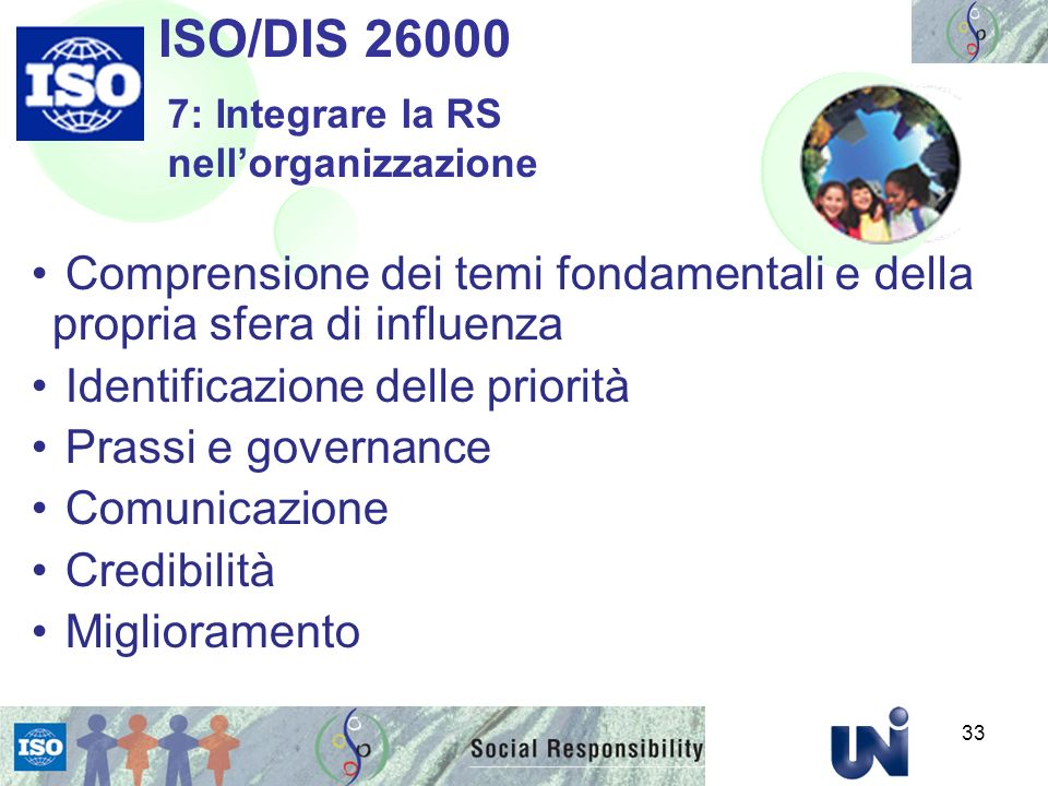 ISO/DIS 26000 7: Integrare la RS nell'organizzazione. Comprensione dei temi fondamentali e della propria sfera di influenza.
