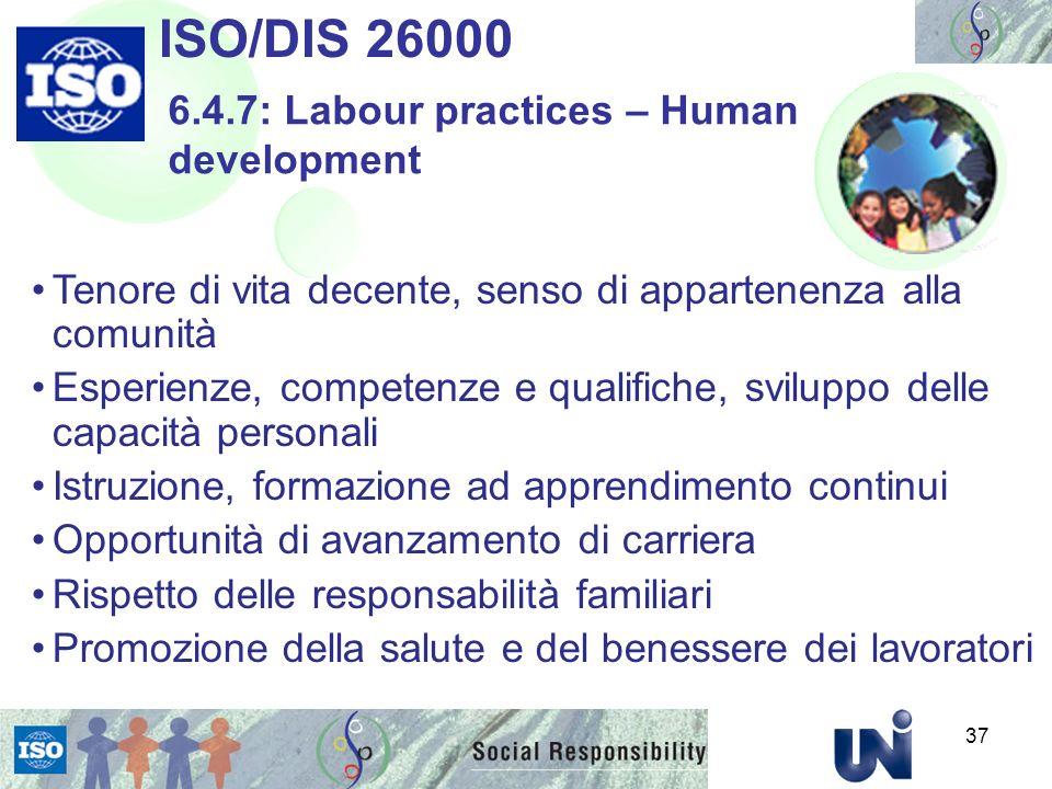 ISO/DIS 26000 6.4.7: Labour practices – Human development